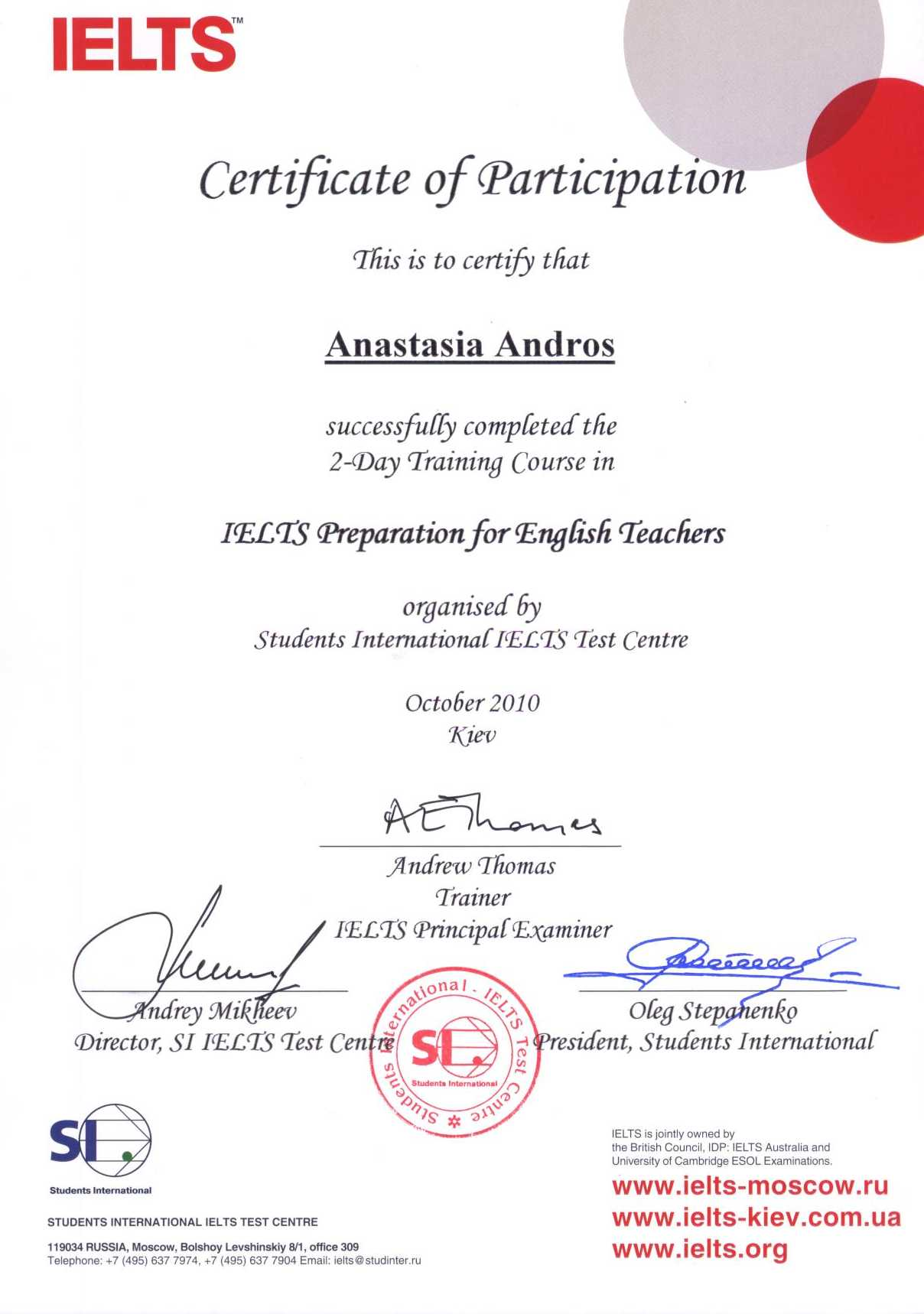 Certificate of Participation, A Course in IELTS Preparation for English Teachers, Anastasia Andros