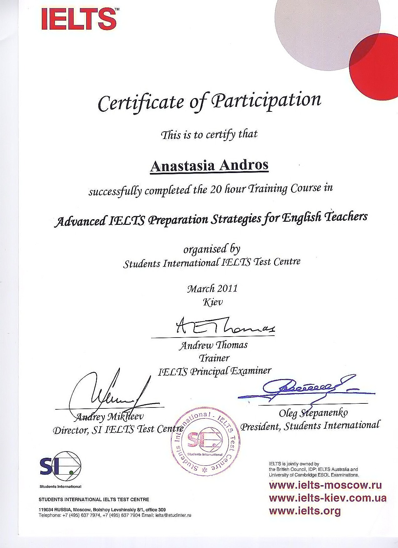 Certificate of Attendance, Advanced IELTS Preparation Strategies for English Teachers, Anastasia Andros