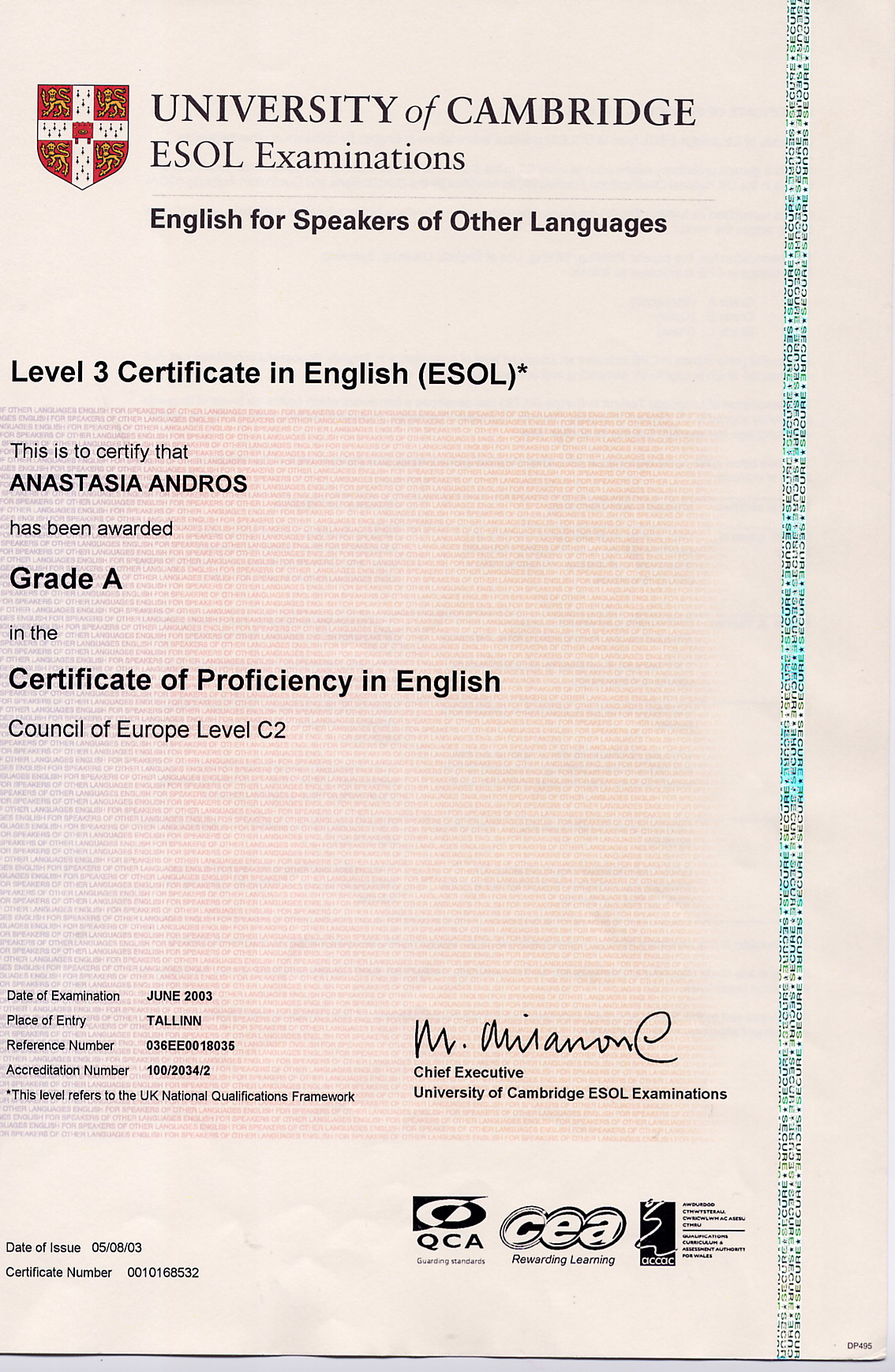 Certificate of Proficiency in English, Anastasia Andros, Grade A