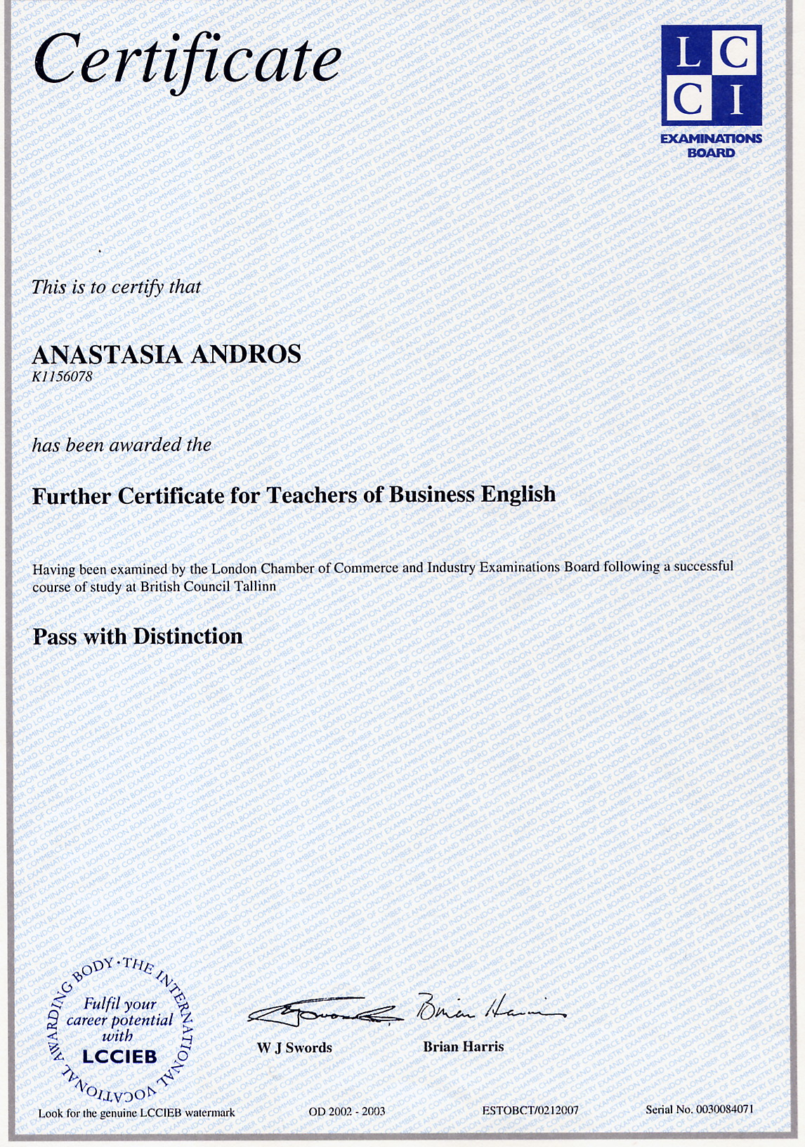 Further Certificate for Teachers of Business English, Distinction, Anastasia Andros